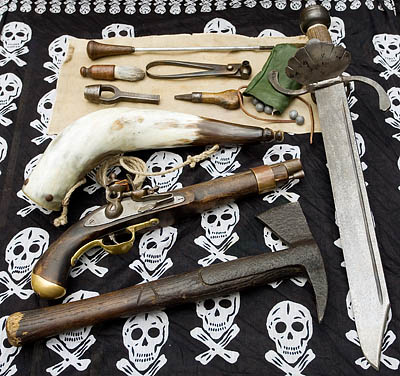 A selection of the weaponry used by pirates and displayed in my school visits